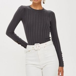 Topshop ribbed button cuff long sleeve gray top